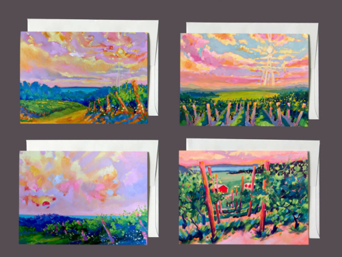 Michigan Wine Trail Notecards - by Stephanie Schlatter Art