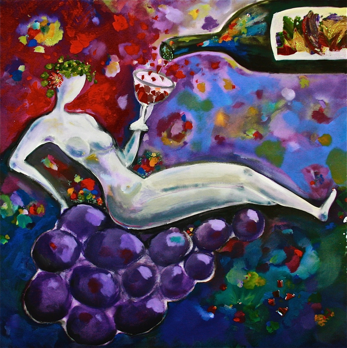 Goddess of Cabernet - Painting by Stephanie Schlatter