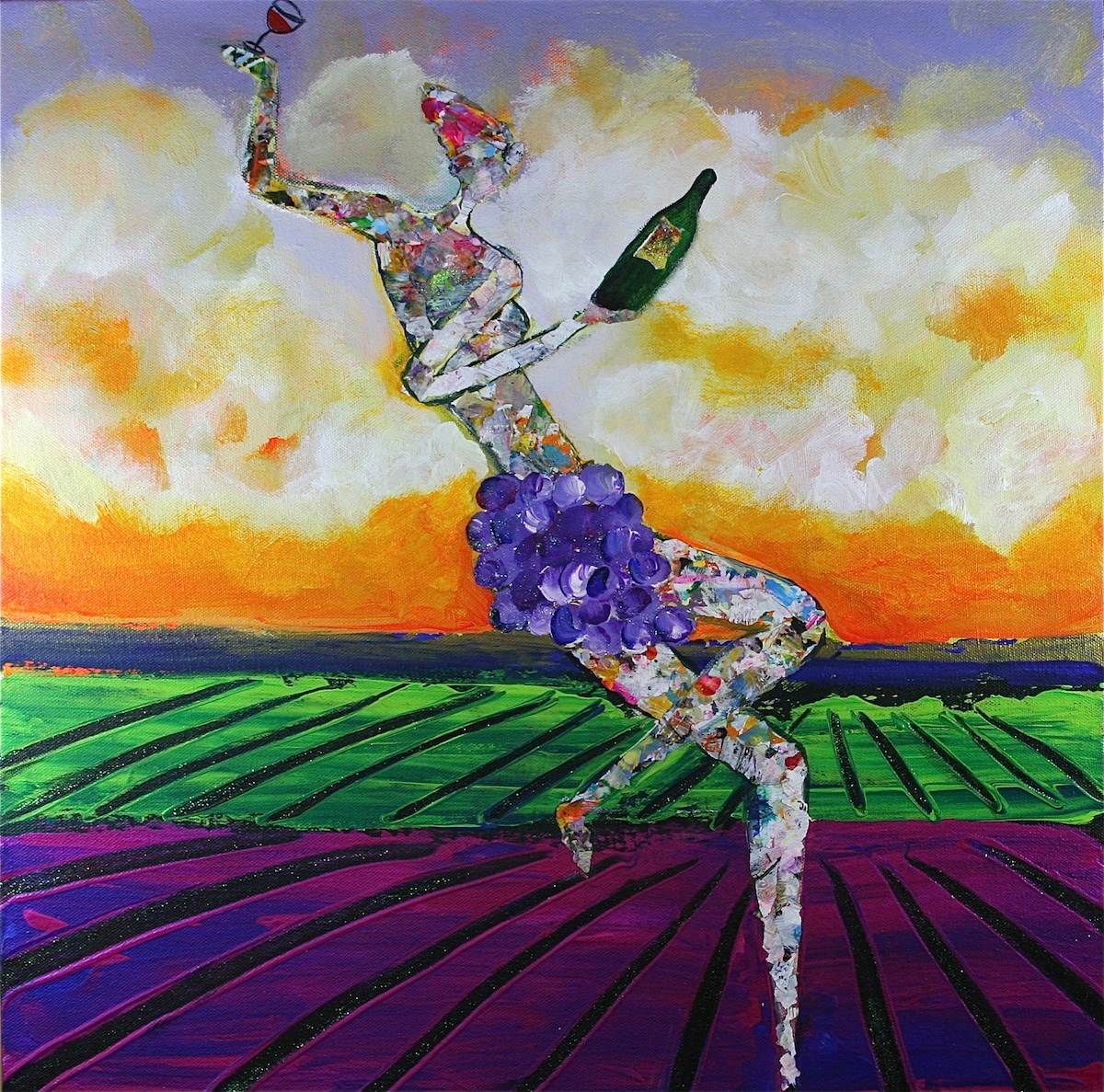 Goddess of Wine in the Vineyard - Painting by Stephanie Schlatter