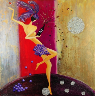 Fling Goddess of Wine - Painting by Stephanie Schlatter
