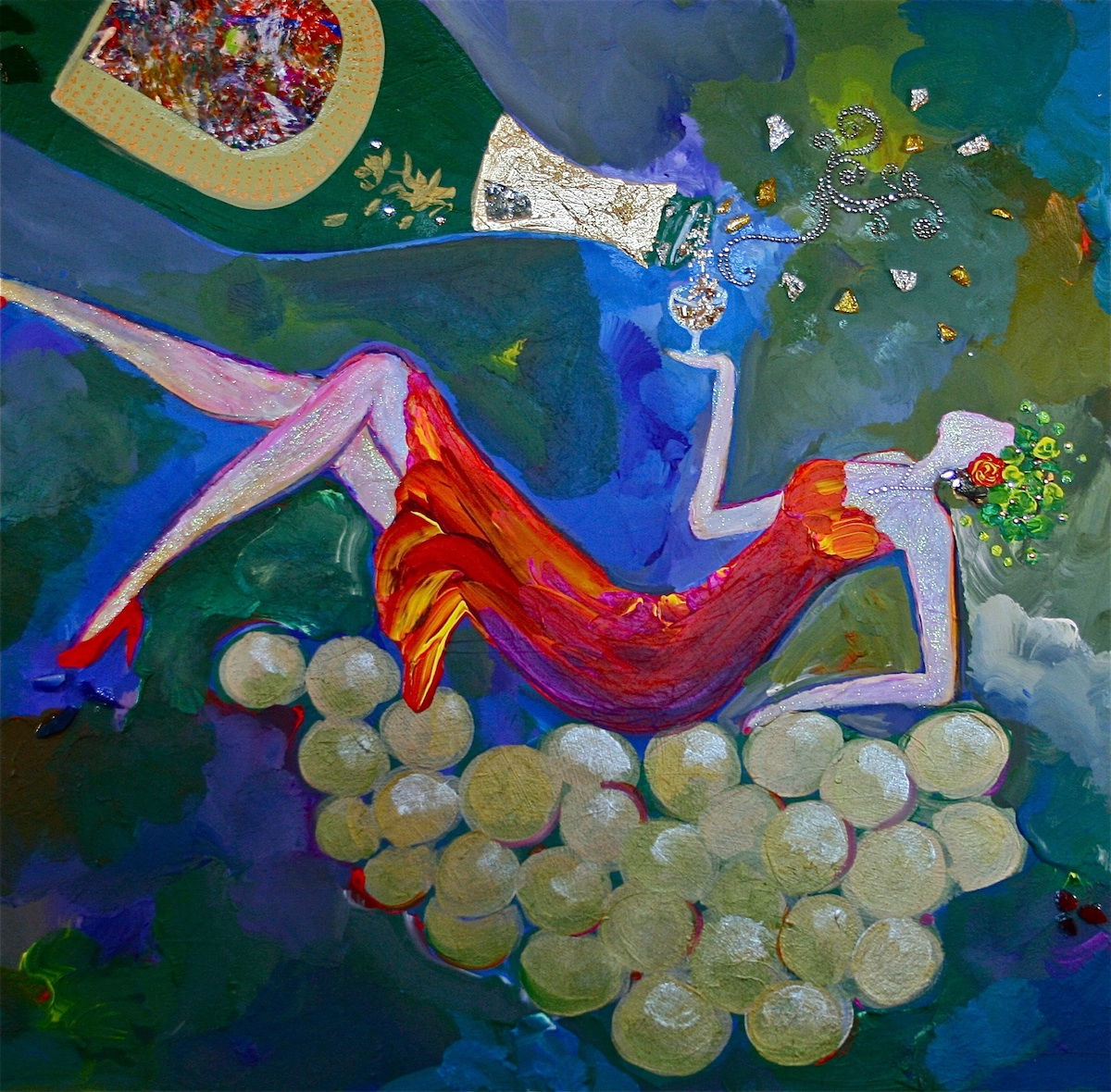 Goddess of Sparkling Wine - Painting by Stephanie Schlatter