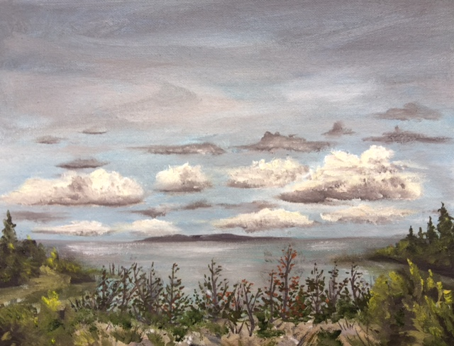 Lake Michigan at Cathead Bay - Painting by Stephanie Schlatter