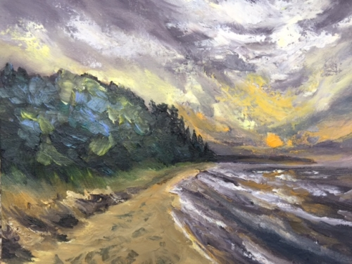 Whaleback at Sunset - Painting by Stephanie Schlatter