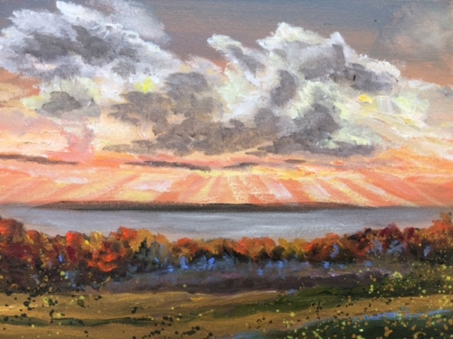 Shards of Light over Lake Michigan - Painting by Stephanie Schlatter