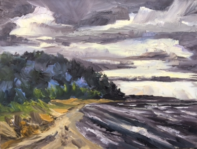 Whaleback under Stormy Skies on Lake Michigan - Stephanie Schlatter Art
