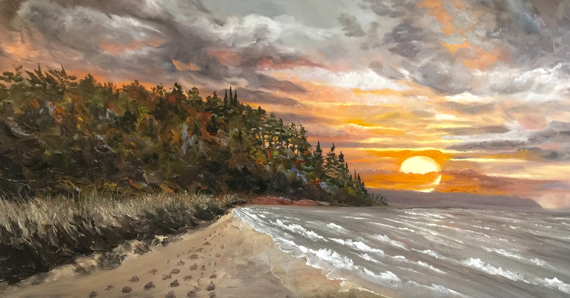 Serene Sunset - Painting by Stephanie Schlatter