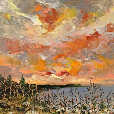 Fiery Sky Over Cathead Bay - Painting by Stephanie Schlatter