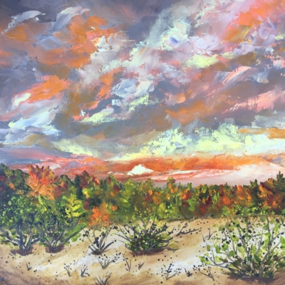Fall Colors at Houdek Dunes - Painting by Stephanie Schlatter