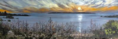 Panorama of Cathead Bay - Painting by Stephanie Schlatter