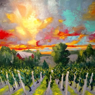 Aurora Cellars - Painting by Stephanie Schlatter