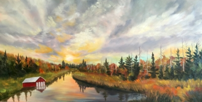 Sunset at the Leelanau Narrows - Painting by Stephanie Schlatter