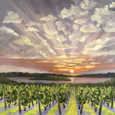 Power Island from the Vines - Painting by Stephanie Schlatter