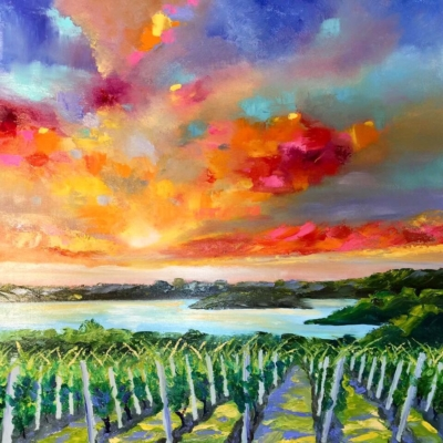 Leelanau Cellars - Painting by Stephanie Schlatter