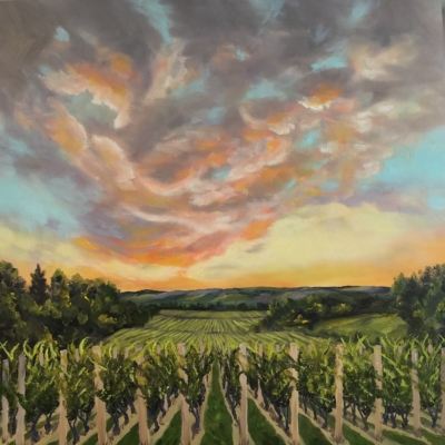 Good Harbor Vineyards - Painting by Stephanie Schlatter