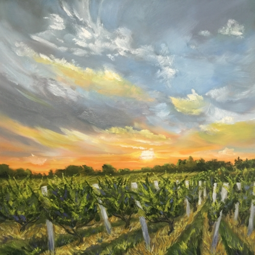 Bel Lago Vineyards - Painting by Stephanie Schlatter