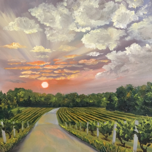 Road Through The Vines - Painting by Stephanie Schlatter