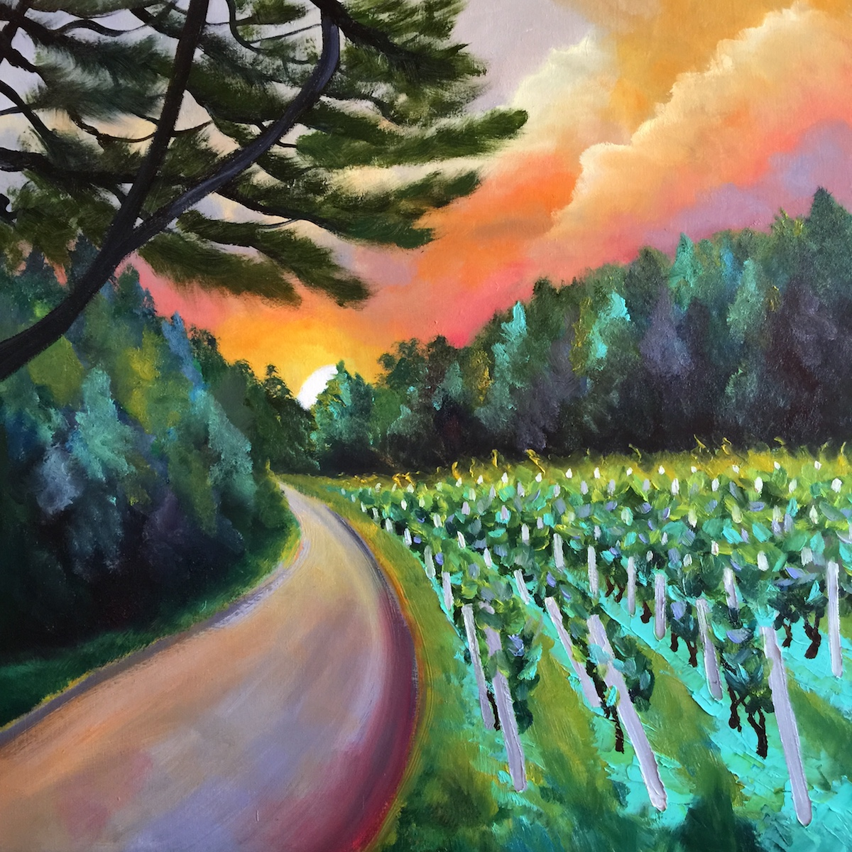 Raftshol Vineyards - Painting by Stephanie Schlatter