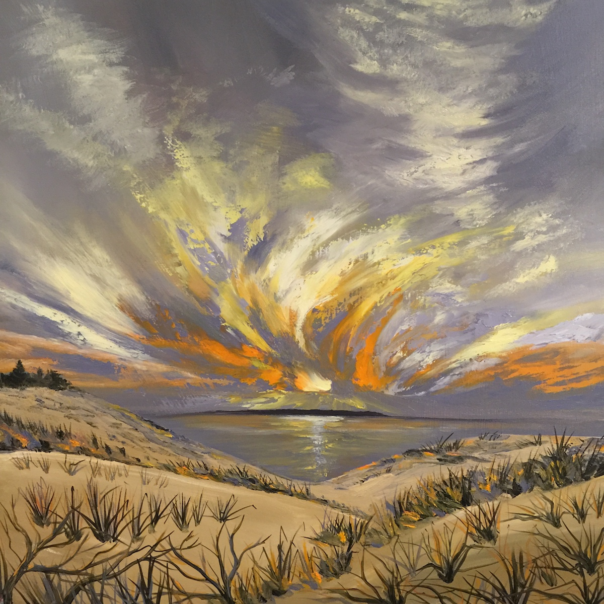 Wild Sky From The Dunes - Painting by Stephanie Schlatter