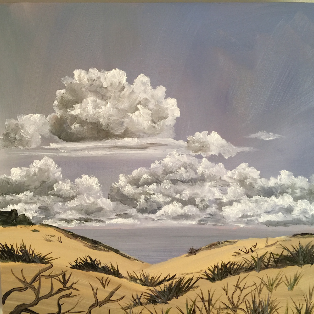 Billowy Sky at Sleeping Bear Dunes National Lakeshore - Painting by Stephanie Schlatter