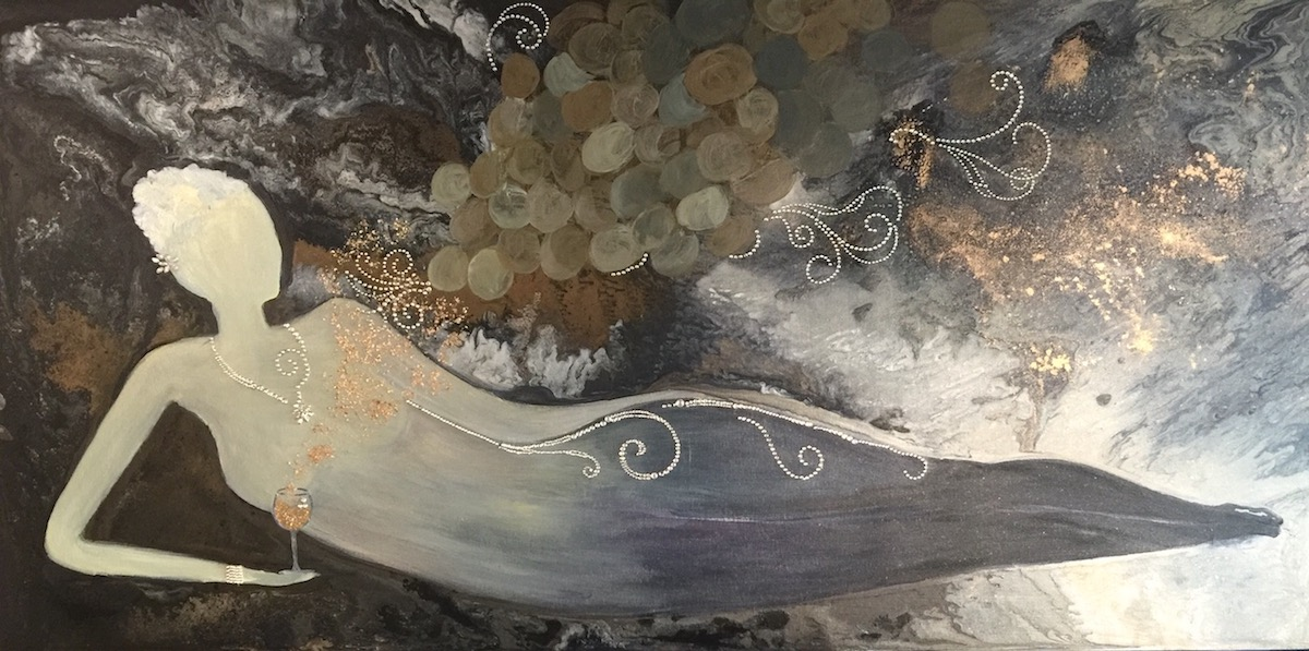 Relaxing with a Glass of Wine - Painting by Stephanie Schlatter