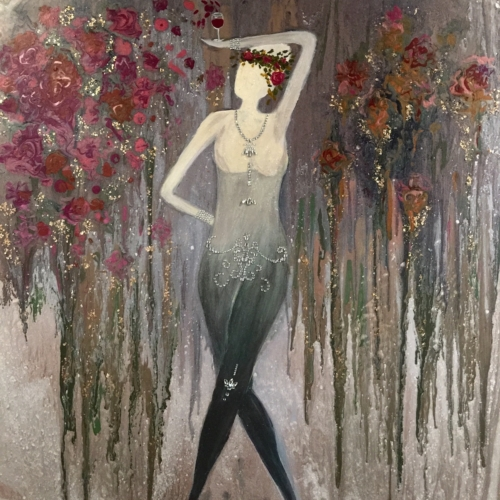 Goddess of Roses and Red - Painting by Stephanie Schlatter