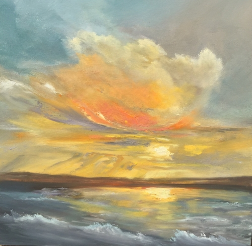 Bright Sky Over Lake Michigan - Painting by Stephanie Schlatter