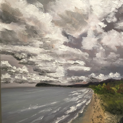 Moody Sky Over Lake Michigan - Painting by Stephanie Schlatter