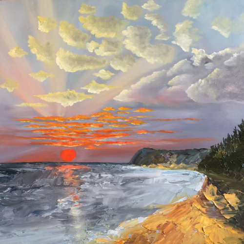 A Beautiful Night at Lake Michigan - Painting by Stephanie Schlatter