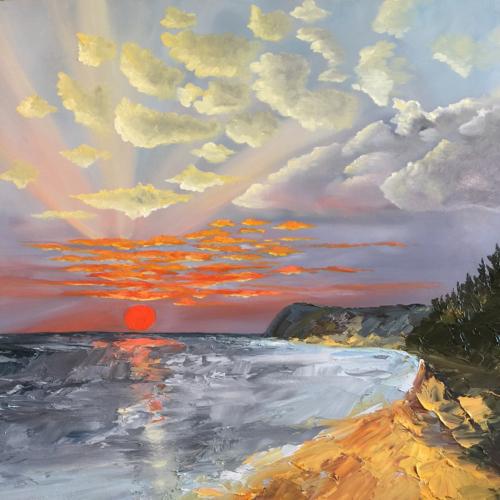 A Beautiful Night at Lake Michigan - Painting by Stephanie Schlatter