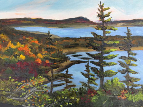 A High Perch in Acadia National Park - Painting by Stephanie Schlatter