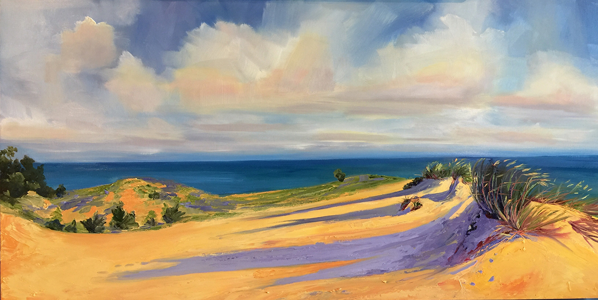 Bright Morning Light at Sleeping Bear Dunes - Painting by Stephanie Schlatter