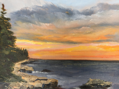 Coastal Sunset in Acadia National Park Painting by Stephanie Schlatter
