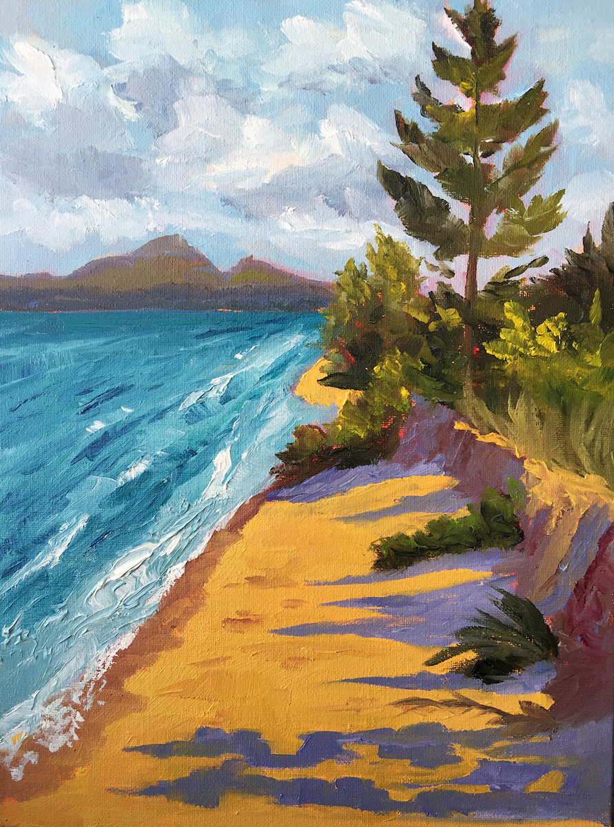 Deserted Island Feeling on Lake Michigan - Painting by Stephanie Schlatter