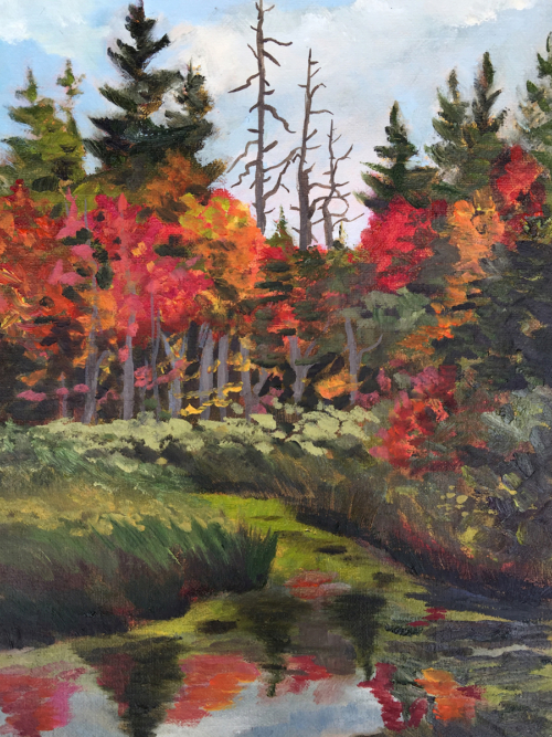 Fall River View - Painting by Stephanie Schlatter