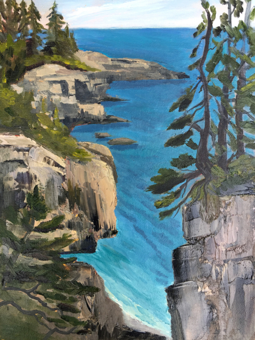 Looking Down on Beauty - Painting by Stephanie Schlatter