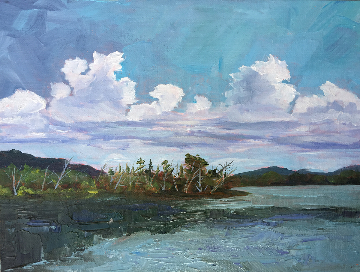 Peaceful Nook on Little Traverse Lake - Painting by Stephanie Schlatter