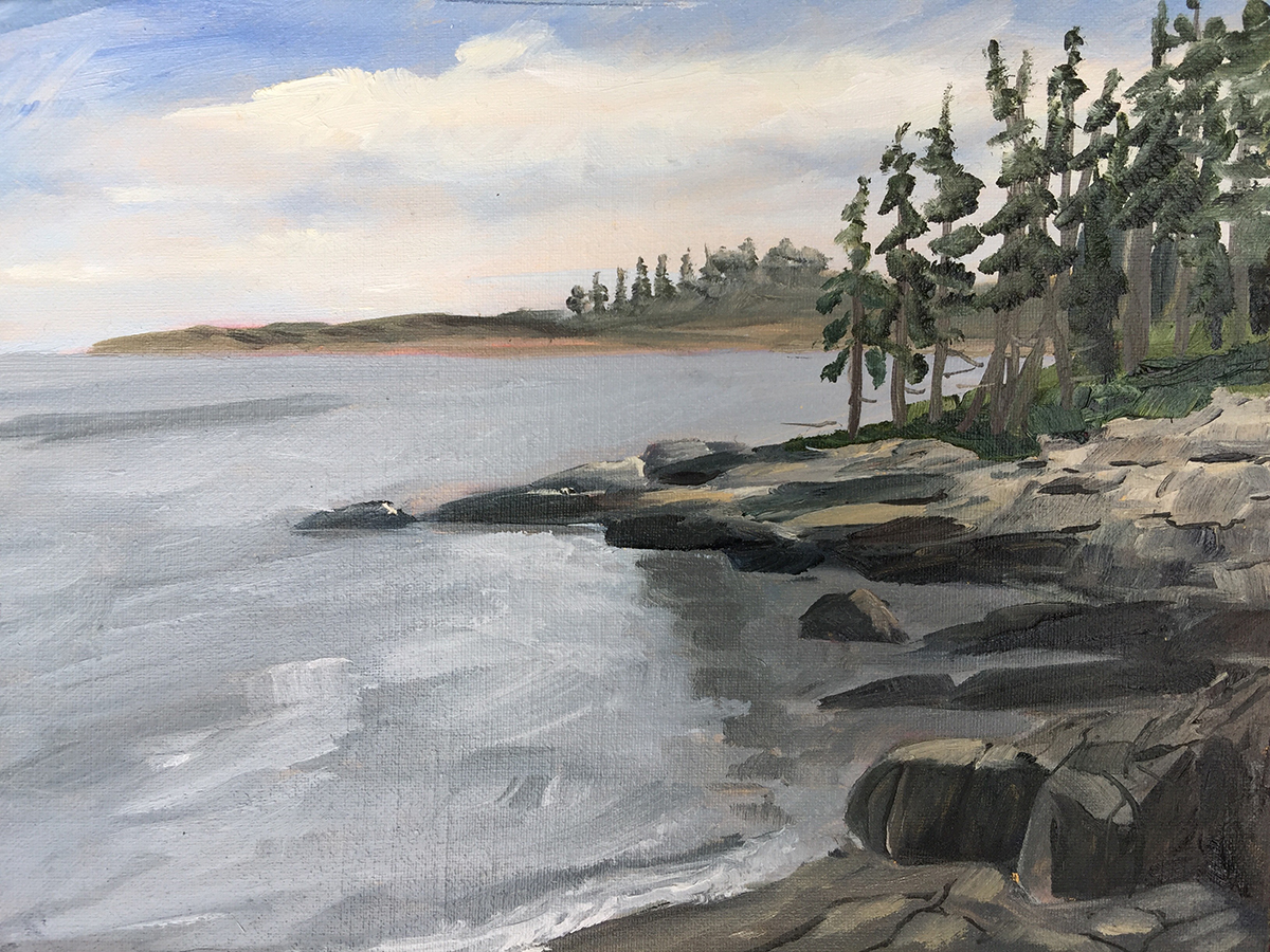 Pine Trees Dot the Coast - Painting by Stephanie Schlatter