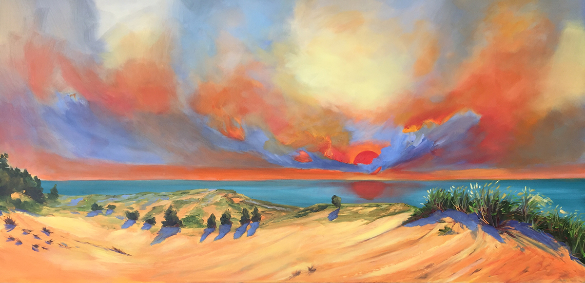 Red Sky at Night From Sleeping Bear Dunes - Painting by Stephanie Schlatter