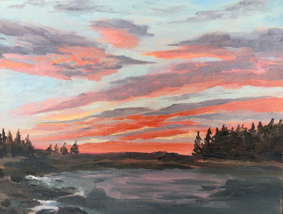 Sea Scape Sunrise - Painting by Stephanie Schlatter
