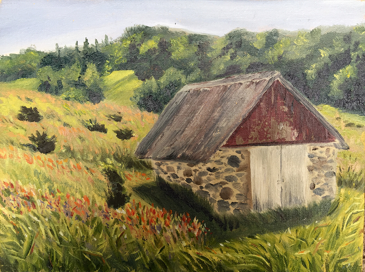 The Barn on the Hill - Painting by Stephanie Schlatter