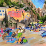 La Spiaggia - Painting by Stephanie Schlatter