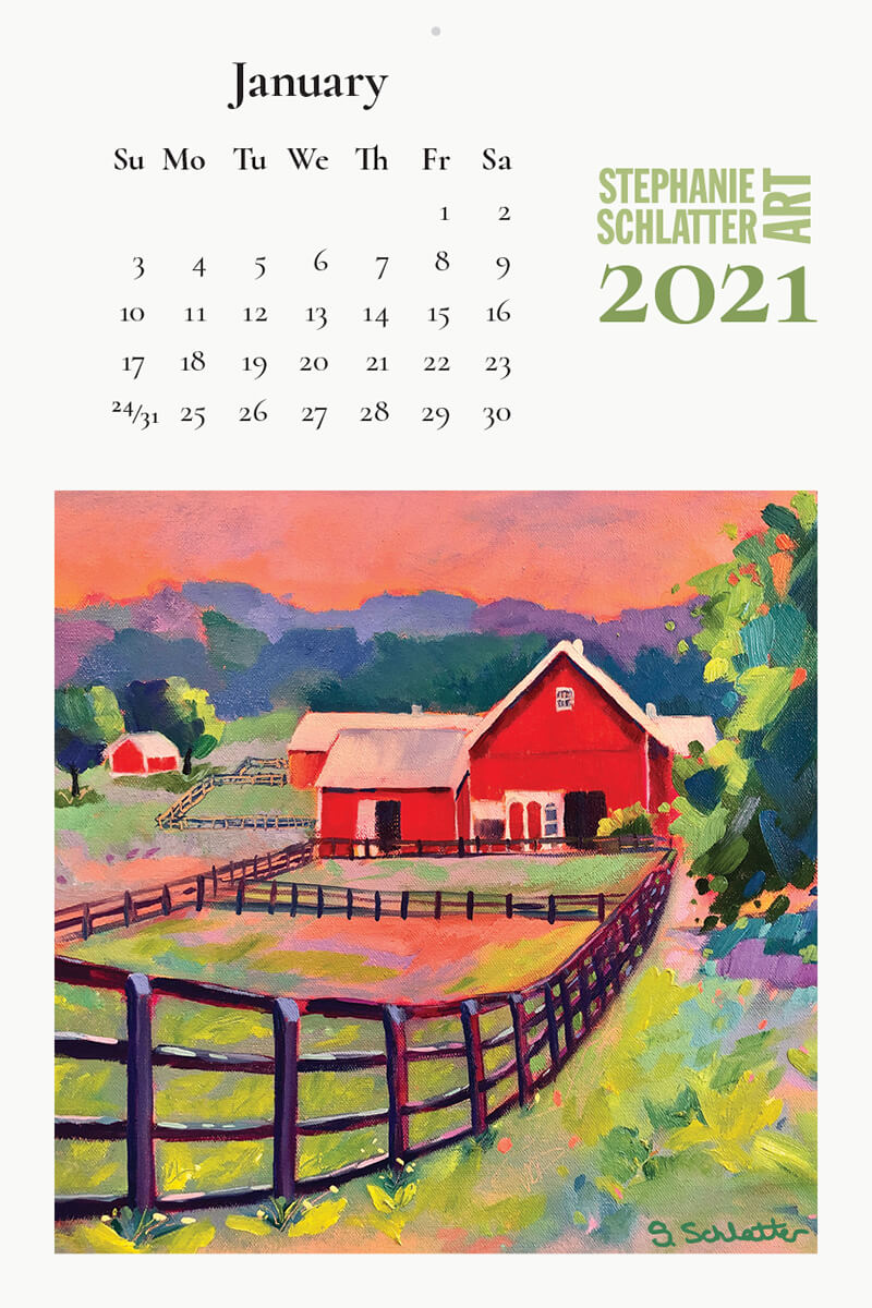 Schlatter January 2021 wall calendar