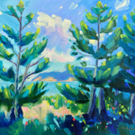 Pines at the Beach painting by Stephanie Schlatter