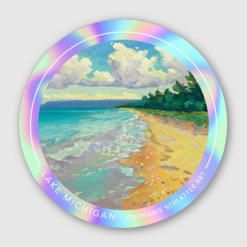 Lake Michigan Sticker by Stephanie Schlatter