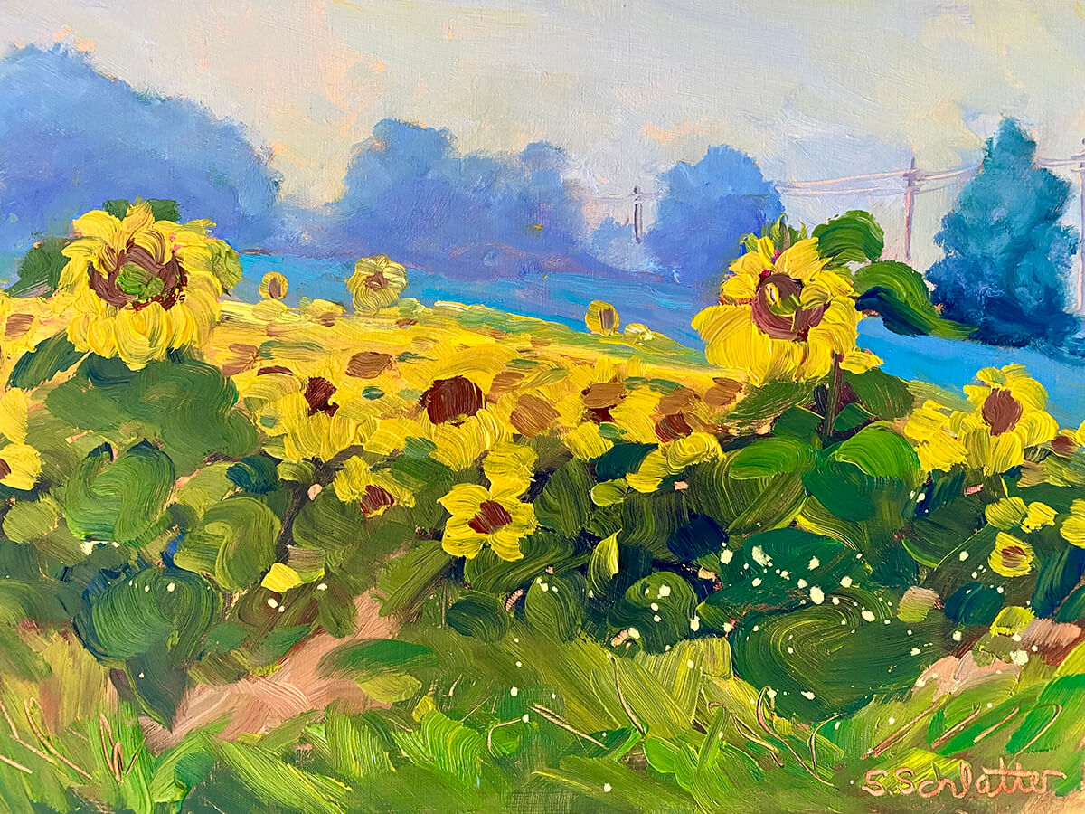 Sunflower painting by Stephanie Schlatter